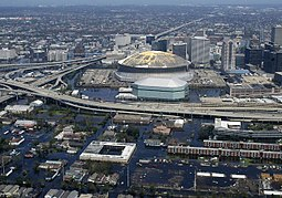 An aerial view from a United States Navy helicopter showing floodwaters around the entire downtown New Orleans area (2005).