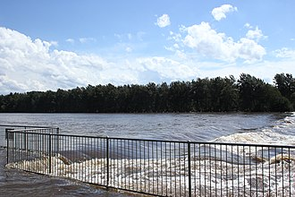 Nepean River - Nepean River, downstream of Victoria Bridge, after heavy rains, 2013