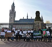 Bangladeshis in front of the International Court of Justice, The Netherlands.