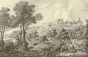 Neuleiningen Castle - The ruins around 1800, copperplate by Jakob Wilhelm Roux