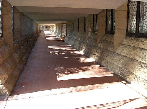 Mannix Wing walkway at Newman College, University of Melbourne Newman College - Mannix wing walkway.JPG