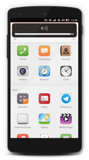 Ubuntu Touch - A Nexus 5 smartphone running Ubuntu Touch displaying the Apps scope