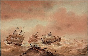 HMS Royal Sovereign (1786) - Image: Nicholas Pocock, The Day after Trafalgar – The 'Victory' Trying to Clear the Land with the 'Royal Sovereign' in Tow to the 'Euryalus' (1810)