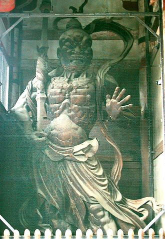Nio - A famous Japanese wooden Kongorikishi (Agyō) statue at Tōdai-ji, Nara (World Heritage Site). It was made by Busshi Unkei and Kaikei in 1203
