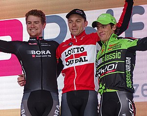Nokere Koerse - The 2015 podium (from left to right): Scott Thwaites, Kris Boeckmans and Justin Jules.