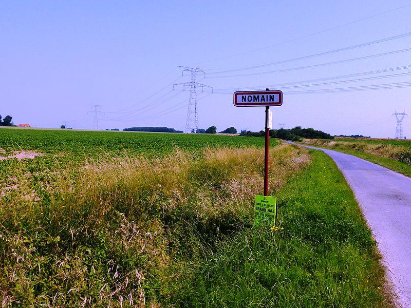Nomain (Nord, Fr) city limit sign