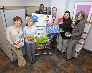 Food drive - Non-perishable food items collected during a holiday food drive.