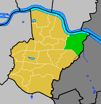 North End (Bexley ward) - North End ward (green) within the London Borough of Bexley (yellow)