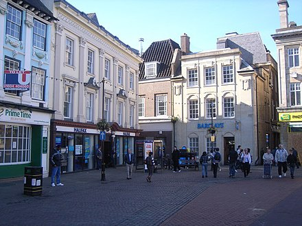 The town centre of Northampton, the town where Moore has spent his entire life and which later became the setting of his novel Jerusalem. Northampton town centre - geograph.org.uk - 1411176.jpg