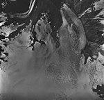 Northwestern Glacier, terminus of tidewater glacier, bergschrund, and firn line, August 27, 1963 (GLACIERS 6694).jpg