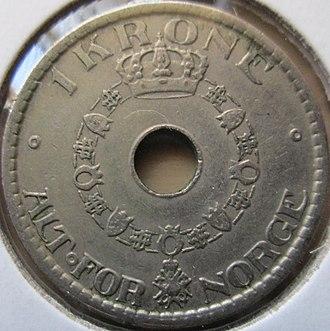 Norwegian krone - Image: Norway 1 Krone 1940 reverse