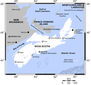 Map of Nova Scotia.