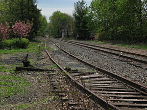 Erie Railroad - Former Erie Railroad tracks pass through Nutley, New Jersey. Track on left is out of service