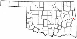 Gans, Oklahoma - Image: OK Map doton Gans