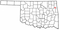 Location of Oaks, Oklahoma