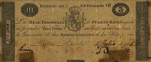 Currencies of Puerto Rico - Image: Obverse Real Tesorería de Puerto Rico 3 pesos, 1815