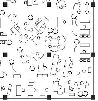 Open plan - An office landscape floor plan, another type of open plan.