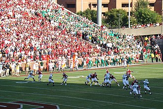 2007 Oklahoma Sooners football team - The Sooner offense on the field with both Sooner and Mean Green fans looking on
