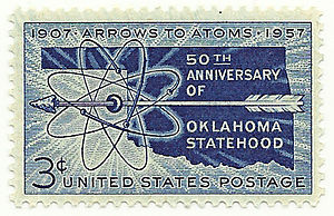 Oklahoma Statehood Stamps - 50th Anniversary of Oklahoma Statehood