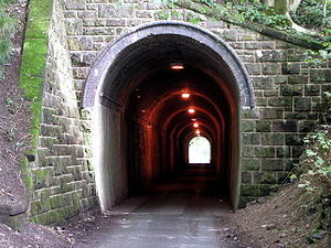 Leek and Manifold Valley Light Railway - Swainsley tunnel, viewed from the southern portal, is now used by single file road traffic.