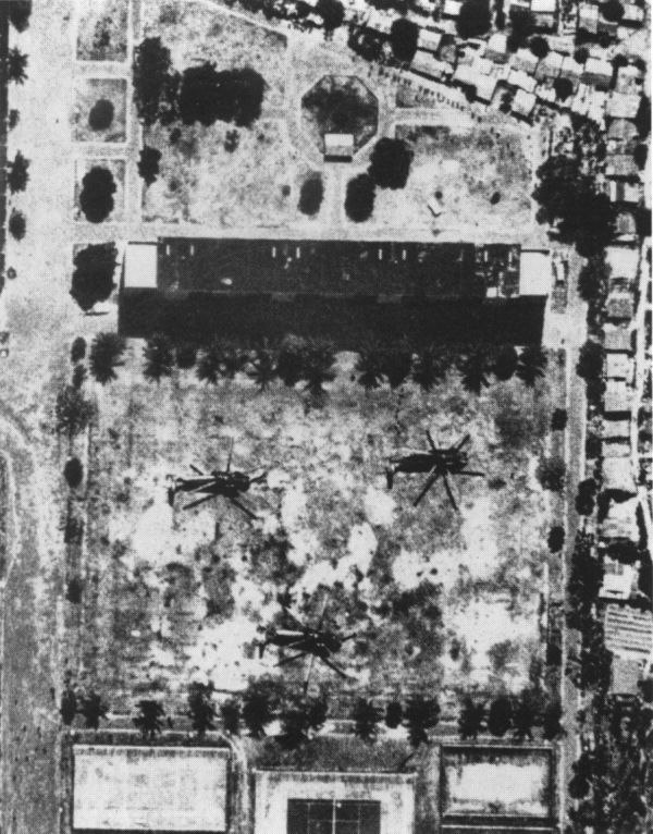 Operation Eagle Pull helicopters on LZ Hotel