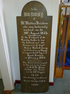 Matthew Brisbane - The wooden marker replaced in 1906 is now in the Falkland Islands Museum (Image courtesy of the Falkland Islands Museum and National Trust)