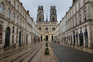 Orléans - Rue Jeanne d'Arc and the Saint-Croix Cathedral