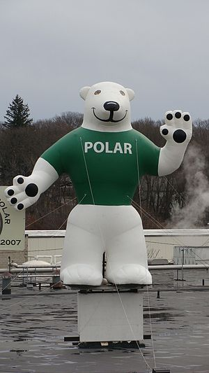 Interstate 290 (Massachusetts) - Orson the bear, the mascot of Polar Beverages, is a prominent landmark visible from I-290 in Worcester.