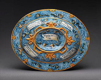 Back of a Renaissance oval basin or dish, in the Metropolitan Museum of Art Oval basin or dish with subject from Amadis of Gaul MET DP320592.jpg
