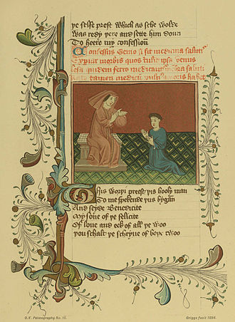 Confessio Amantis - The author and the Priest of Venus, from an MS of the Confessio Amantis ca. 1399