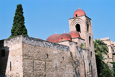 San Giovanni degli Eremiti, a church showing elements of Byzantine, Arabic, and Norman architecture.