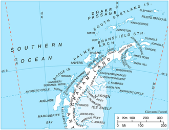 Palmer Archipelago - Locator (basemap) for the Palmer Archipelago, Antarctic Peninsula, Antarctica. Map centered near 65°00′S 64°00′W.