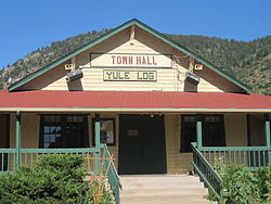 Palmer Lake Town Hall; Yule Log Hunt is held each December.