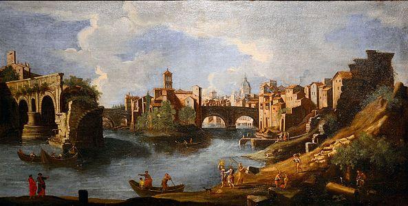 Panorama of the Tiber with the broken bridge