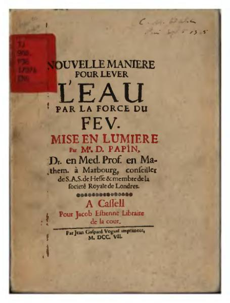 File:Papin - Nouvelle manière d'élever l'eau par la force du feu, 1707.djvu