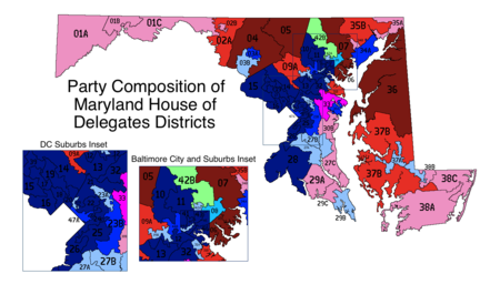 Map of Maryland House of Delegates electoral districts by party composition: 3 sub-districts 2 sub-districts 1 sub-district 3 dem.  2 dem., 1 rep.  1 dem., 2 rep.  3 rep. 2 dem.  1 dem., 1 rep.  2 rep. 1 dem.  1 rep.  1 ind. Party Composition of Maryland House of Delegates Districts01.png