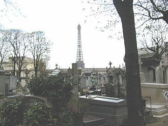 Passy Cemetery - The Cimetière de Passy, with the Eiffel Tower in the background