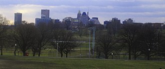 Patterson Park - A view of downtown Baltimore across Patterson Park