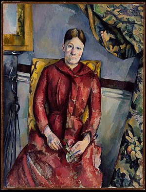 Marie-Hortense Fiquet - Madame Cézanne (Hortense Fiquet, 1850–1922) in a Red Dress (1888-90), oil on canvas, 116.5 x 89.5 cm, The Metropolitan Museum of Art, New York