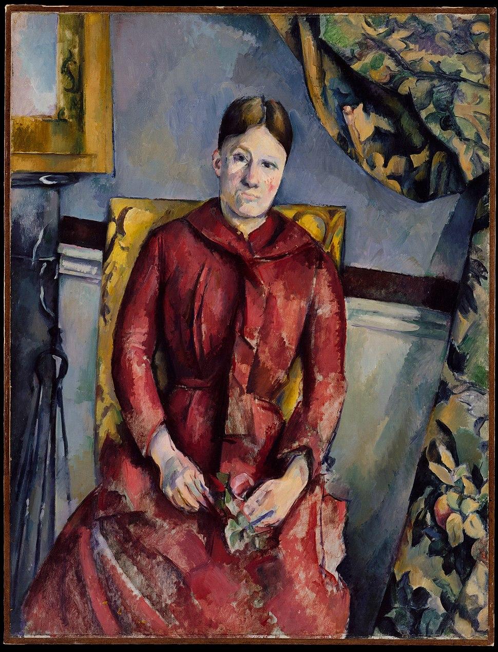 Paul C%C3%A9zanne, 1888-90, Madame C%C3%A9zanne (Hortense Fiquet, 1850%E2%80%931922) in a Red Dress, oil on canvas, 116.5 x 89.5 cm, The Metropolitan Museum of Art, New York
