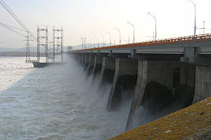 Hydroelectricity in Russia - Zhiguli Hydroelectric Station during a freshet