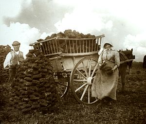 Peat - Peat gatherers at Westhay, Somerset Levels in 1905
