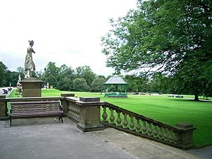 """People's Park, Halifax - Terrace, statue of """"Diana the huntress"""" and bandstand in the People's Park"""