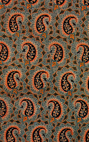 Textile arts - Persian Silk Brocade. Persian Textile (The Golden Yarns of Zari - Brocade). Silk Brocade with Golden Thread (Golabetoon). Pattern and Design: Paisley Left and Right (Bote Jeghe), With Main Repeating Motif (Persian Paisley).