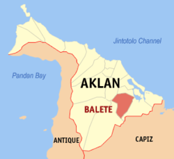 Map of Aklan with Balete highlighted