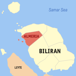 Map of Biliran with Almeria highlighted