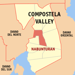 Map of Compostela Valley with Nabunturan highlighted