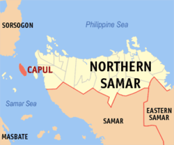 Map of Northern Samar with Capul highlighted