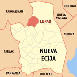 Map of Nueva Ecija with Lupao highlighted