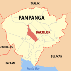 Map of Pampanga showing the location of Bacolor.